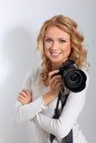 Portret van vrouwenfotograaf royalty-vrije stock afbeeldingen
