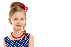 Portret van wat meisjesclose-up Stock Foto