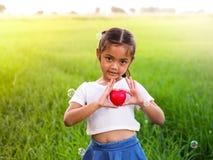 Portret van weinig Aziatisch meisje die rood hart houden Royalty-vrije Stock Afbeelding