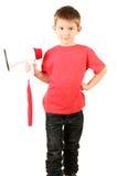 Portret van weinig jongen met spreker Stock Afbeelding
