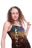 Portret van wijfje en zeepbels Stock Foto's