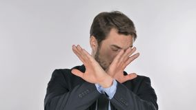 Portret van zakenman gesturing verwerping, weigering stock video