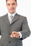 Portret van zakenman het drukken Royalty-vrije Stock Afbeeldingen