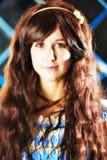 Portret van zeer zacht mooi meisje in stijl van een anime Stock Foto