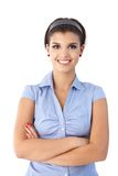 Portret van zekere glimlachende vrouw Royalty-vrije Stock Foto's