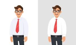 Portret van zekere knappe jonge zakenman die wit overhemd en rode band dragen, die zich tegen witte en grijze/grijze achtergrond  vector illustratie