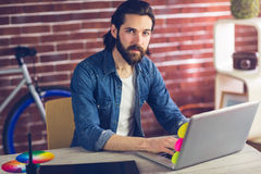 Portret van zekere zakenman die laptop met behulp van Stock Fotografie