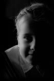 Portret van zes éénjarigenmeisje in zwart-wit Royalty-vrije Stock Fotografie