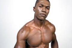 Portret van zwarte bodybuilder Stock Foto