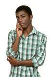 Portret van zwarte jongen stock foto