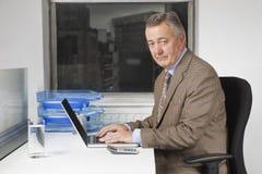 Portret w średnim wieku biznesmen używa laptop przy biurkiem w biurze Obraz Royalty Free