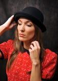 Portret w dęciaka kapeluszu Obraz Royalty Free