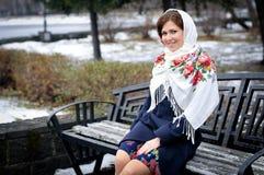 Portret w rosyjskiej chuscie Obrazy Royalty Free