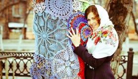 Portret w rosyjskiej chuscie Obrazy Stock