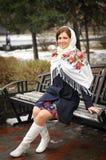 Portret w rosyjskiej chuscie Fotografia Royalty Free