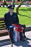 Portret weteran wojenny, sadza na ławce i chwyty kwitną zdjęcie stock