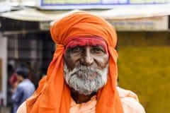 Portret święty mężczyzna na pielgrzymce święty Pushak jezioro Obraz Royalty Free