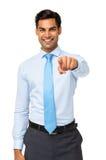 Portret Wskazuje Przy kamerą Szczęśliwy biznesmen Zdjęcia Royalty Free