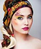Portret współczesna szlachcianka z twarzy sztuki kreatywnie zakończeniem Obraz Stock