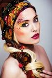 Portret współczesna szlachcianka z twarzy sztuki kreatywnie zakończeniem Obraz Royalty Free