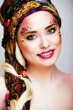 Portret współczesna szlachcianka z twarzy sztuki kreatywnie zakończeniem Zdjęcia Royalty Free