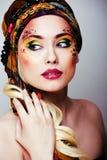 Portret współczesna szlachcianka z twarzy sztuki kreatywnie zakończeniem Obrazy Royalty Free