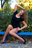 Portret wspaniała młoda piękna blondynki kobieta z długim s fotografia stock