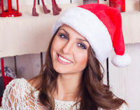 A portret young girl in a cap of Santa Claus Stock Photography