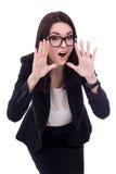 Portret zaakcentowany młody biznesowej kobiety krzyczeć odizolowywam dalej Obrazy Stock