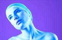 portret zadumane purpurowy Obrazy Royalty Free
