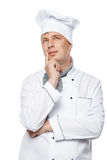 portret zadumany przystojny szef kuchni w pracującym kostiumu obrazy royalty free