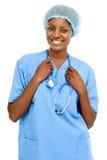 Portret zekere Afrikaanse Amerikaanse vrouwelijke artsen witte backgrou Royalty-vrije Stock Foto