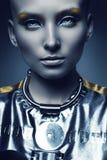 Portret zimno przestrzeni kobieta Obrazy Royalty Free