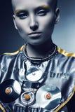 Portret zimno przestrzeni kobieta w srebrze Obrazy Royalty Free