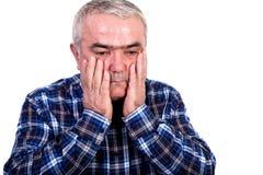 Portret zmartwiony starszy mężczyzna Zdjęcie Stock