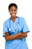 Portreta amerykanina afrykańskiego pochodzenia kobiety lekarki bielu ufny backgrou Obraz Royalty Free