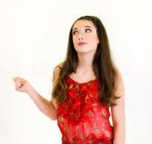 Portreta ciała chapnąć młoda kobieta folujący palce Fotografia Stock