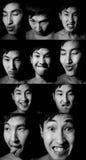 portreta czarny emocjonalny biel Fotografia Stock