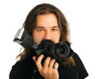 Portreta fotograf z kamerą Obrazy Stock