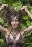 Portreta hipisa piękna dziewczyna w naturze, zamyka up Zdjęcia Royalty Free