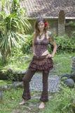Portreta hipisa piękna dziewczyna w naturze, zamyka up Zdjęcie Stock
