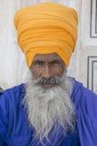 Portreta indyjski sikhijski mężczyzna w turbanie z sumiastą brodą Amritsar, India Zdjęcie Royalty Free
