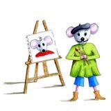 Portreta malarza mysz Zdjęcia Stock