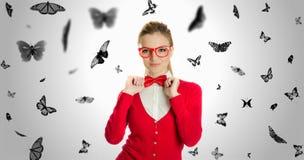 Portreta motyl i młoda kobieta Zdjęcia Royalty Free