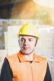 Portreta pracownik w hełmie zdjęcie stock