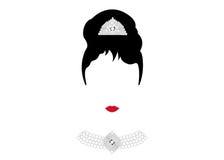 Portreta retrà ² kobieta, diwa z Perełkową biżuterią, minimalna Audrey ilustracja Obrazy Royalty Free