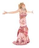 Portreta włóczydła królowa w Różowym wieczór sukni spełnianiu Fotografia Royalty Free