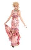 Portreta włóczydła królowa w Różowym wieczór sukni spełnianiu Fotografia Stock