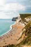 Portreta widok Skalista plaża i linia brzegowa Zdjęcie Royalty Free