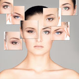 Portretcollage van mooie vrouwen in make-up royalty-vrije stock foto